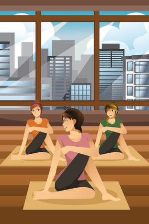 femme dessin: A vector illustration of happy women doing yoga together