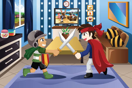 boys playing: A vector illustration of Two little boys playing with swords