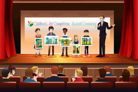 juventud: Una ilustraci�n vectorial de los ni�os que reciben premio en concurso de arte