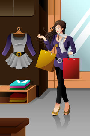 stylish woman: A vector illustration of stylish woman shopping in a mall Illustration