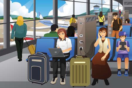 telefono caricatura: Una ilustraci�n vectorial de viajeros Carga sus dispositivos electr�nicos en un aeropuerto Vectores