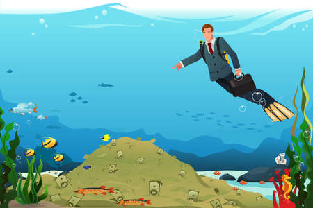 coworker: A vector illustration of businessman swimming under the water searching for money