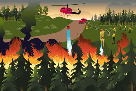 A vector illustration of firefighters trying to put out fires in the forest Ilustração