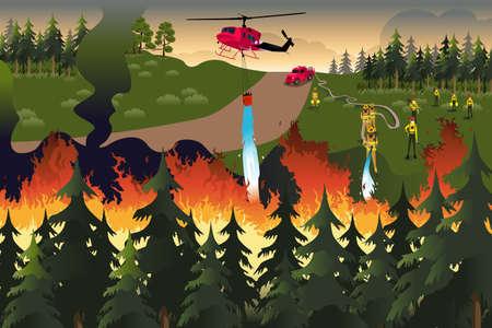 brandweer cartoon: Een vector illustratie van brandweerlieden proberen om branden in het bos buiten gezet Stock Illustratie