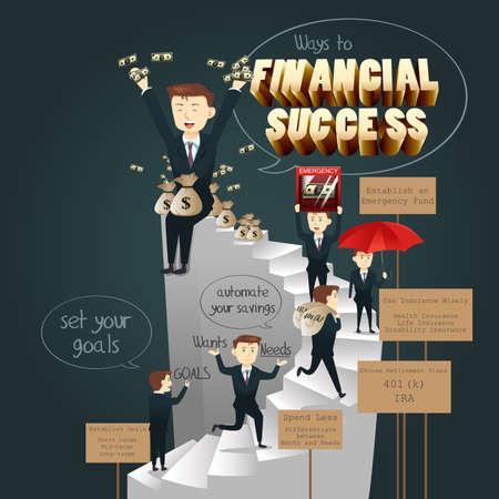 long range: A vector illustration of infographic of ways to financial success