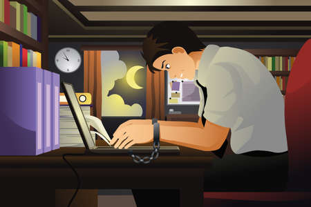 handcuff: A vector illustration of businessman working with his hands tied with handcuff to the laptop