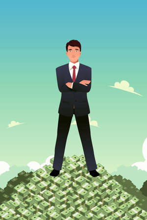A vector illustration of businessman standing on top of pile of money