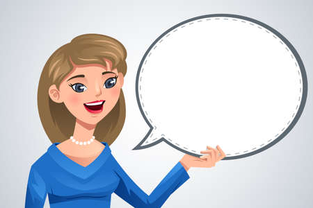 A vector illustration of smiling woman with blank text bubble