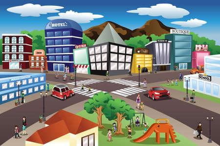Een vector illustratie van de stad scene Stockfoto - 44081889
