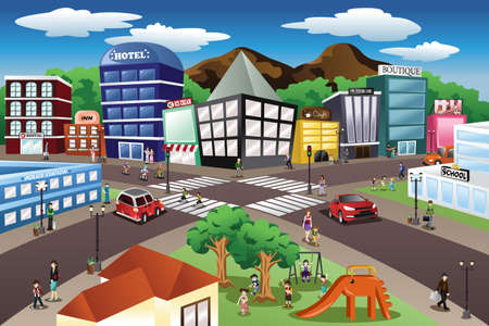 escuela caricatura: Una ilustración vectorial de escena de la ciudad