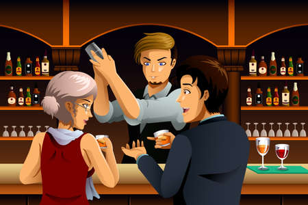 bartender: A vector illustration of Couple in a Bar with Bartender