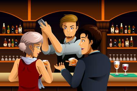 barra: Una ilustraci�n vectorial de pareja en un bar con Bartender
