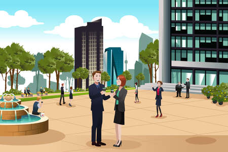 talking: A vector illustration of Business people talking outside their office building Illustration