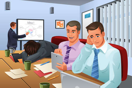 A vector illustration of businessman giving a presentation and his colleagues are not paying attention to him