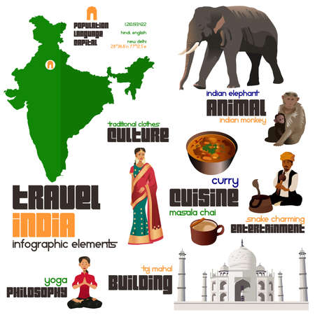 chai: A vector illustration of Infographic elements for traveling to India