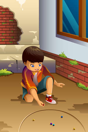 A vector illustration of little boy playing marbles outdoor Vettoriali