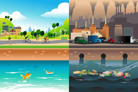 polluted: A vector illustration of healthy city versus polluted city