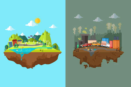 A vector illustration of comparison of clean city and polluted city Vettoriali