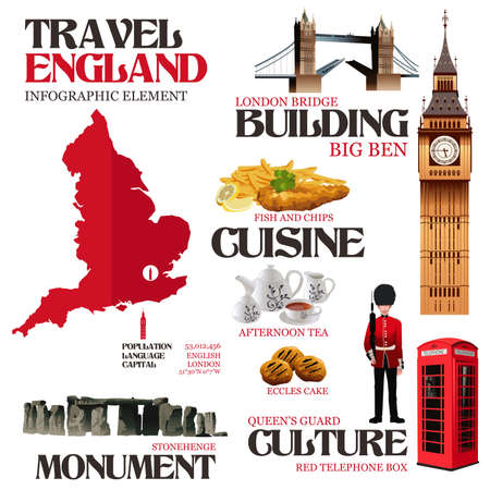uk cuisine: A vector illustration of Infographic elements for traveling to England