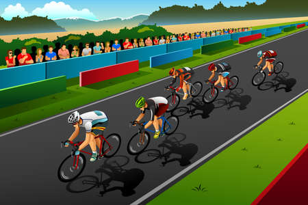 A vector illustration of people cycling in the competition for sport competition series