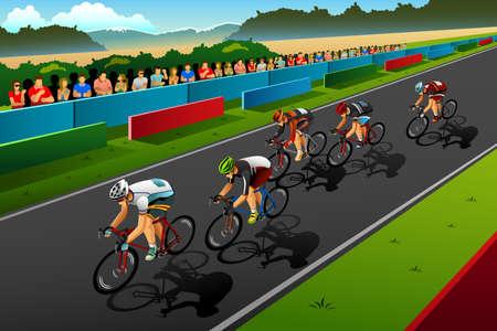 competition: Una ilustración vectorial de las personas en bicicleta en el concurso de serie de la competición deportiva