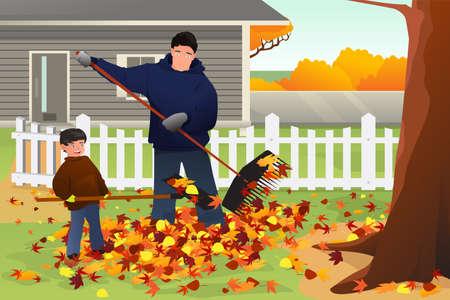 personas ayudando: Una ilustración vectorial de padre e hijo rastrillar las hojas en el patio durante la temporada de otoño