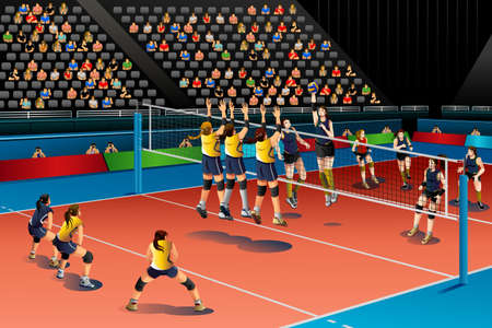 A vector illustration of people playing volleyball in the competition for sport competition series