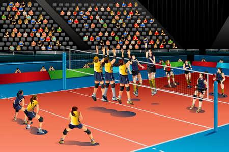competencia: Una ilustraci�n vectorial de personas jugando voleibol en el concurso de serie de la competici�n deportiva