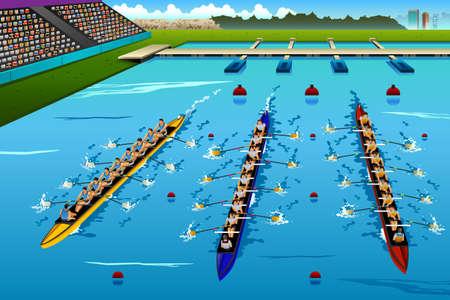 competencia: Una ilustración vectorial de ocho remeros de remo en el concurso de serie de la competición deportiva Vectores