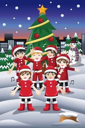 carols: A vector illustration of happy kids singing Christmas Carols