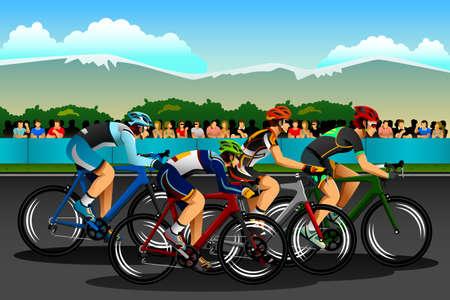 ciclismo: Una ilustración vectorial de las personas en bicicleta en el concurso de serie de la competición deportiva