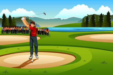 spectators: A vector illustration of man playing golf in the competition for sport competition series