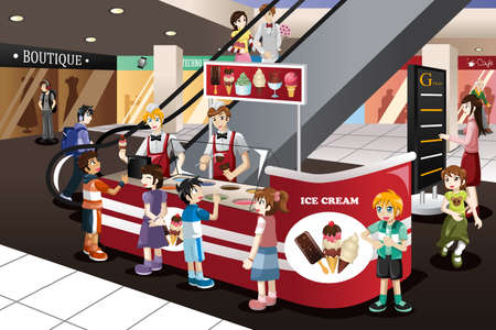 plaza comercial: Una ilustración vectorial de niños felices esperando en la cola para el helado