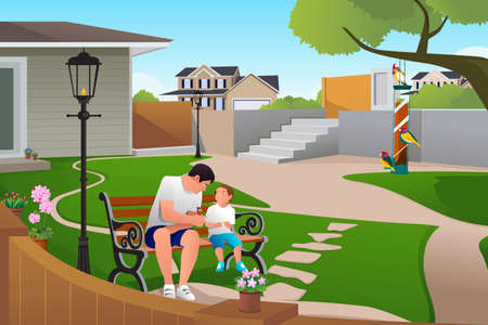 fatherhood: A vector illustration of father and son playing with bird on bird feeders in the backyards