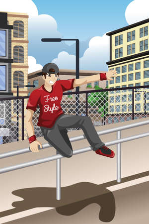 A vector illustration of parkour athlete jumping over a handrail