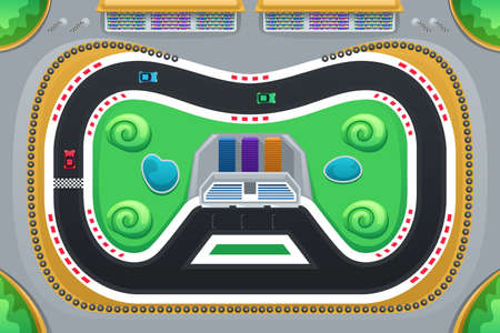 A vector illustration of car racing game viewed from above