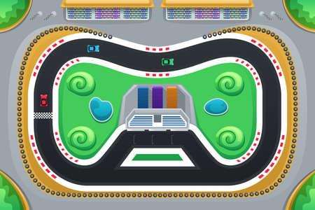 Una ilustración vectorial de juego de carreras de coches visto desde arriba