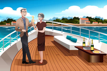 older couple: A vector illustration of romantic retired couple drinking champagne on a yacht Illustration