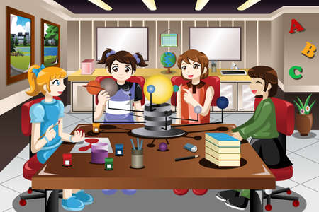 A vector illustration of elementary school students working on solar system project