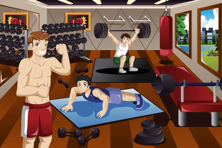 A vector illustration of people exercising in a gym