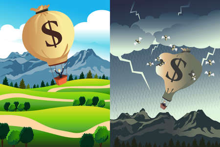 A vector illustration of success versus bankruptcy Иллюстрация