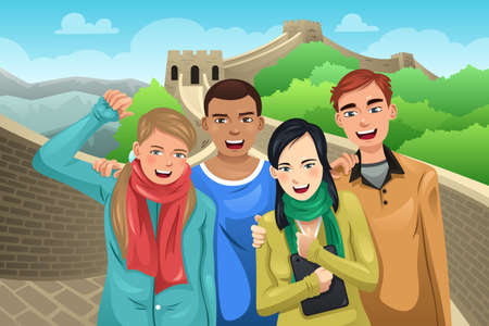 great wall: A vector illustration of tourist posing in great wall of China Illustration