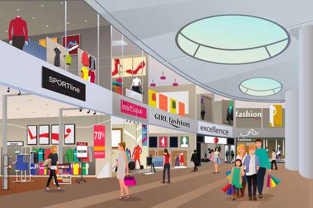 niños de compras: Una ilustración vectorial de compras de la gente en un centro comercial