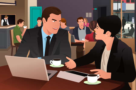 A vector illustration of businesspeople eating together in the cafeteria Vectores