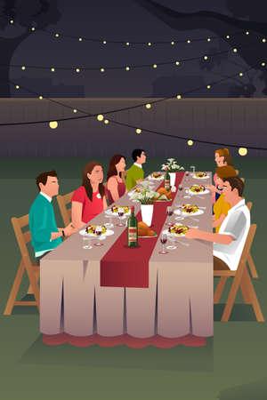 Una ilustración vectorial de las personas que tienen la cena en el patio trasero juntos