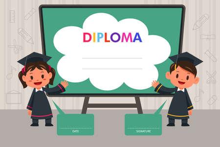 graduacion niños: Una ilustración vectorial de niños de la escuela primaria de fondo diploma de plantilla de diseño