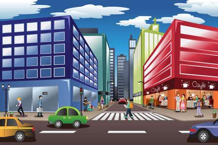 ciudad: Una ilustración vectorial de escena de la ciudad