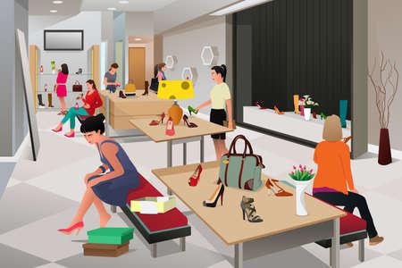 Una ilustración vectorial de compras de las mujeres de los zapatos en una tienda de zapatos Vectores