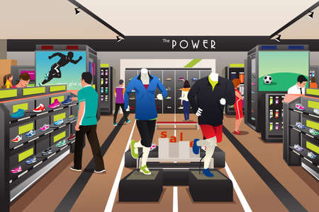 A vector illustration of people shopping for shoes in a sporting store Vectores