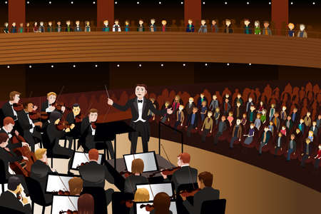 concert audience: A vector illustration of classical music concert